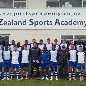 Peterhouse Boys' School rugby team outside New Zealand Sports Academy