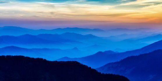 sunrise in Kathmandu mountain ranges