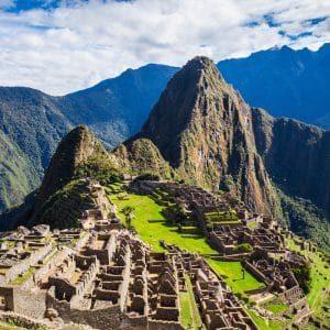 Aerial view of Pachu Pichu in Peru